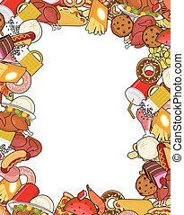 Food gourmet frame. Background of feed. Edible cadre. Pizza and tacos. French fries and hamburger. Hotdog and cookies. Baked turkey and watermelon. Pork and cake. Donuts and dumplings