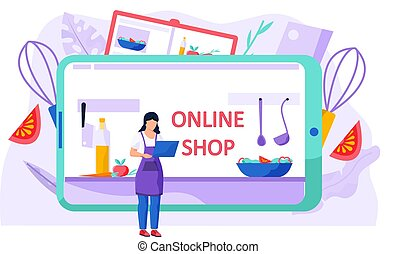 Food grocery delivery online by internet concept. Vector flat graphic design illustration
