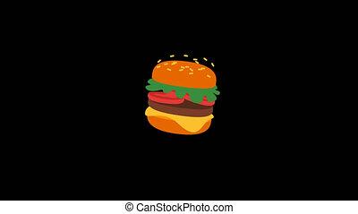 Food Hamburger. Prohibiting Sign. Transparent Background. 3...