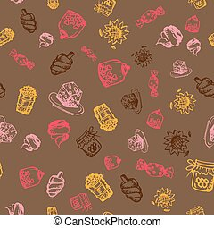 Food hand-drawn sketch line icons seamless pattern on dark background
