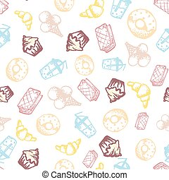 Food hand-drawn sketch line icons seamless pattern on white background