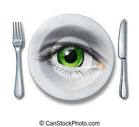 Food Health inspection and quality control for restaurants and kitchen meal preparation services as a plate fork and knife and a human eye looking out for the best choice in the contents of what we eat on white.