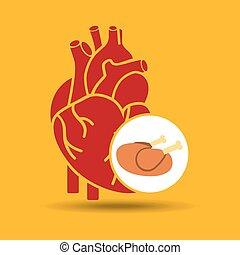 food healthy heart chicken concept design icon