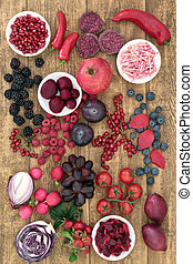 Food High in Anthocyanins - Health food concept with...