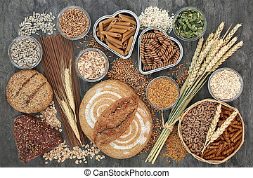 Food High in Dietary Fiber - Food high in dietary fibre with...