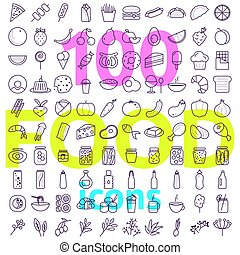 Food icon big vector set. Line style icons pack.