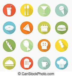 Food icon long shadow design