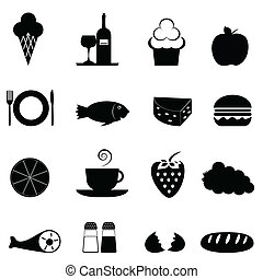 Food icon set in black