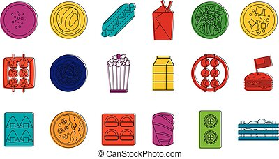Food icon set, color outline style