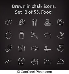 Food icon set drawn in chalk.