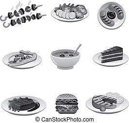 food icon set gray
