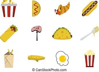Food icon set, flat style