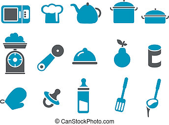 Food icon set - Vector icons pack - Blue Series, food...