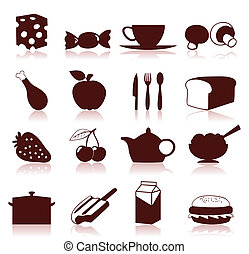 Food icon4 - Collection of icons on a meal theme. A vector ...