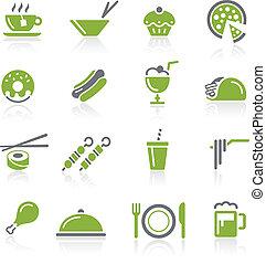 Food Icons - 2 of 2 - Natura Series - Green vector icon set...