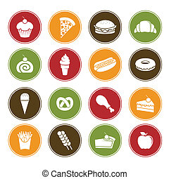 Food icons - A vector illustration of different food icons