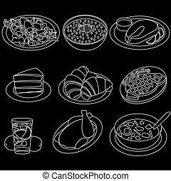 Food icons are white on a black background.