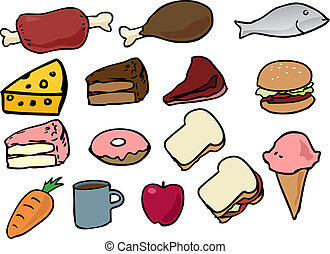 Food icons - Assorted food icons lineart hand-drawn vector ...