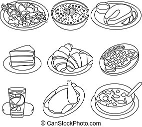 Dessert food and drink black-white icons set.