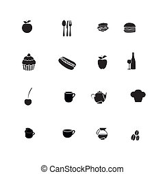 Food icons over white background, vector illustration