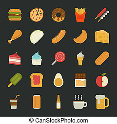 Food  icons , flat design