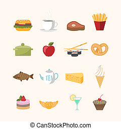 Food icons in flat style vector illustration isolated