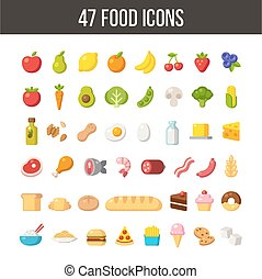 Food icons - Large set of flat cartoon food icons: meat and...