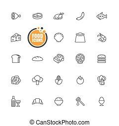 Food icons line set