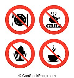 Food icons. Muffin cupcake symbol. Fork, knife. - No, Ban or...