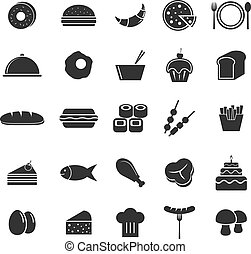 Food icons on white background