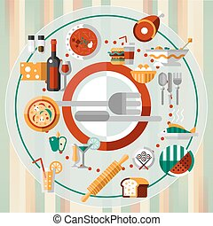 Food icons plate - Food kitchen and cooking decorative icons...