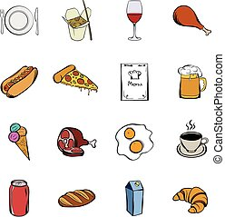 Food icons set cartoon