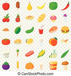 Food icons set, cartoon style