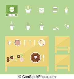 food Icons set, fastfood and tradition dishes