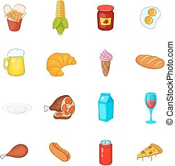 Food icons set in cartoon style