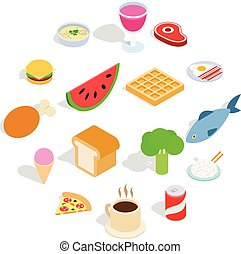Food icons set, isometric 3d style