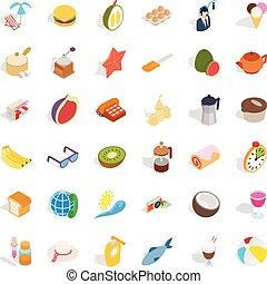 Food icons set, isometric style