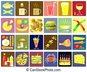 Set of food and drink icon pictograms