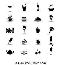 Set of simple black and white food icons