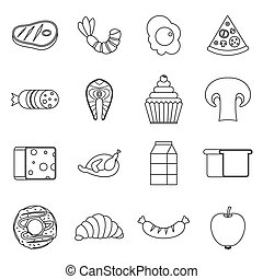 Food icons set, outline style