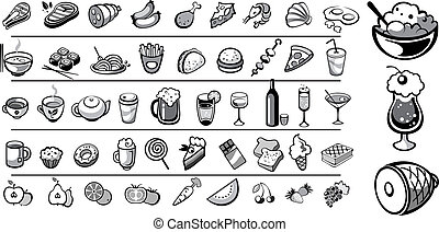 food icons vector collection