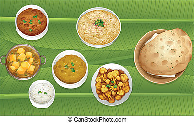 Food - illustration of food on a banana leaf