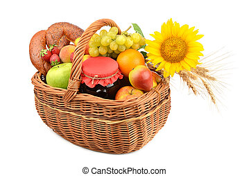 food in a basket isolated on a white background