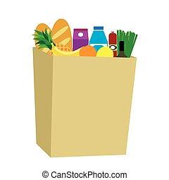 Food in a paper bag.
