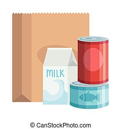 food in can with box milk isolated icon