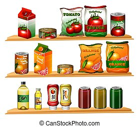 Food in different packages on shelves