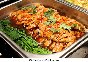 food in dish pepper sauce ontop - Delicious food in dish...