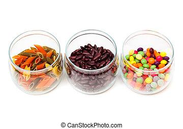 Food in glass jars