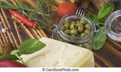 Food ingredient for vegetable salad and italian pasta on...