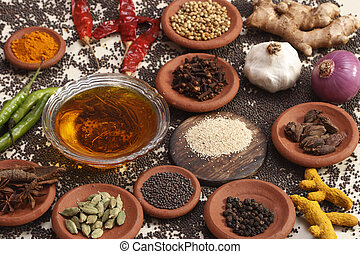 Ingredient mixture may include a variety of ingredients from cumin, fennel, coriander, cardamom, cinnamon, cloves, poppy seeds, saffron, pepper, chilies, and caraway and more. These spice mixtures vary greatly between cooks and different dishes.